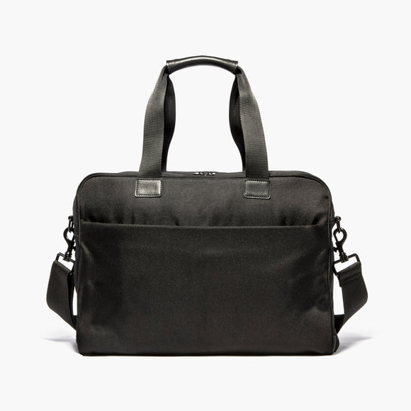 Front With Messenger Strap - The Cambridge - 600D Recycled Poly - Onyx - Briefcase - Lo & Sons