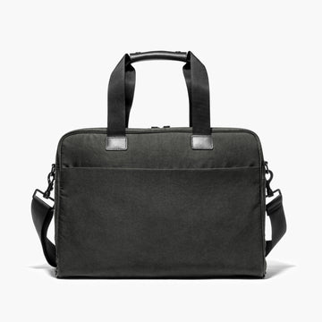 Front With Messenger Strap - The Cambridge - Waxed Twill - Charcoal - Briefcase - Lo & Sons