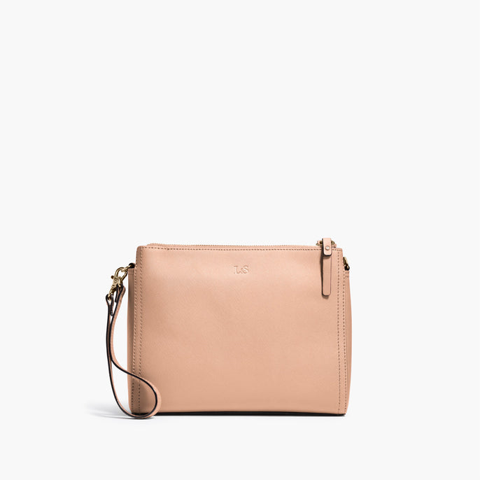 Front Wristlet - The Pearl - Saffiano Leather - Rose Quartz / Gold / Camel - Crossbody - Lo & Sons