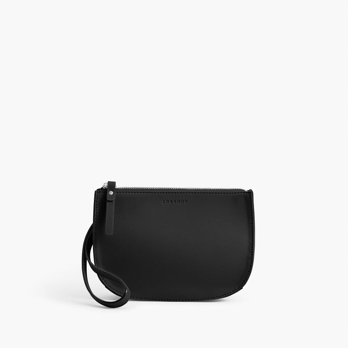 Front Wristlet - Waverley 2 - Nappa Leather - Black / Silver / Grey - Crossbody Bag - Lo & Sons