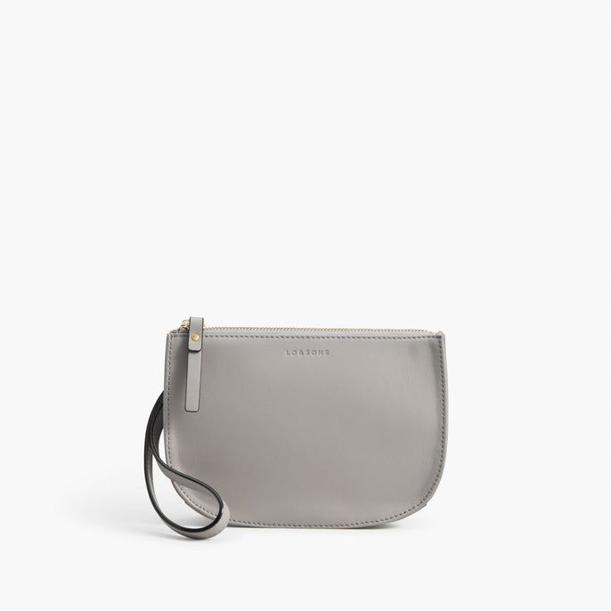 Front Wristlet - The Waverley 2 - Nappa Leather - Light Grey / Gold / Grey - Crossbody - Lo & Sons