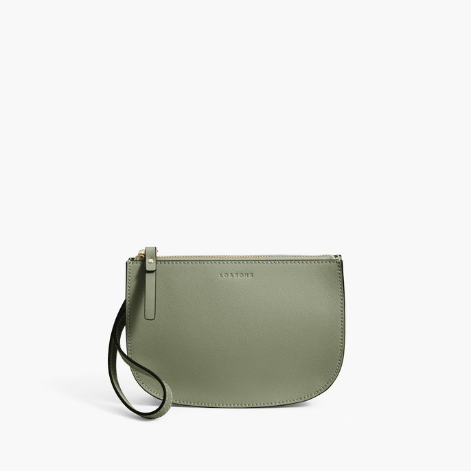 Front Wristlet - Waverley 2 - Saffiano Leather - Sage Green / Gold / Camel - Crossbody Bag - Lo & Sons