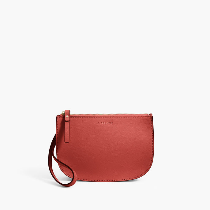 Front Wristlet - Waverley 2 - Saffiano Leather - Santa Fe Red / Gold / Camel - Crossbody Bag - Lo & Sons