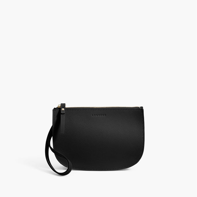 Front Wristlet - The Waverley 2 - Saffiano Leather - Black / Gold / Grey - Crossbody - Lo & Sons