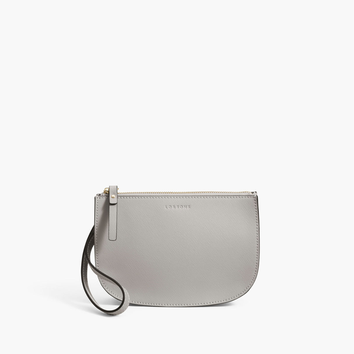 Front Wristlet - The Waverley 2 - Saffiano Leather - Light Grey / Gold / Grey - Crossbody - Lo & Sons