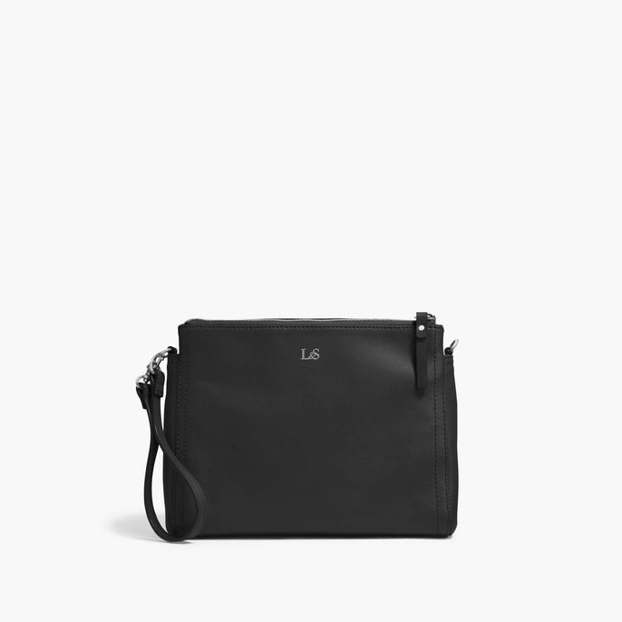 Front Wristlet - The Pearl - Nappa Leather - Black / Silver / Lavender - Crossbody - Lo & Sons