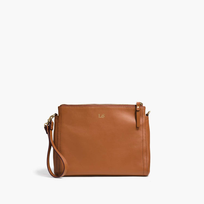 Front Wristlet - The Pearl - Nappa Leather - Sienna / Gold / Camel - Crossbody - Lo & Sons