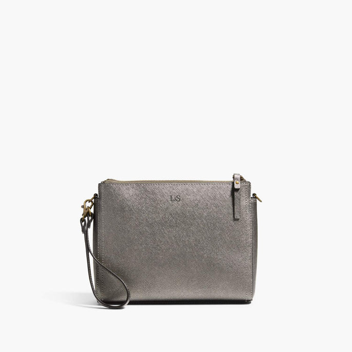 Front Wristlet - The Pearl - Saffiano Leather - Graphite / Brass / Grey - Crossbody - Lo & Sons