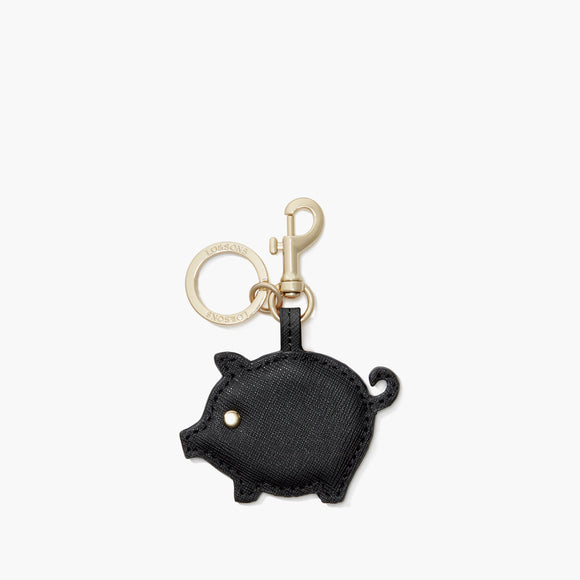 Front - Year of the Pig Charm - Saffiano Leather - Black - Small Accessory - Lo & Sons