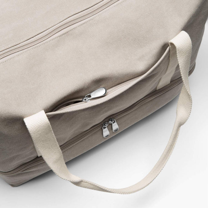 Front Zip Pocket - The Catalina Deluxe - Washed Canvas - Dove Grey - Weekender - Lo & Sons