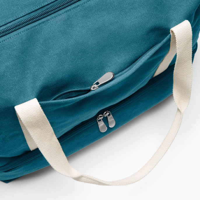 Front Zip Pocket - The Catalina Deluxe - Washed Canvas - Teal Blue - Weekender - Lo & Sons