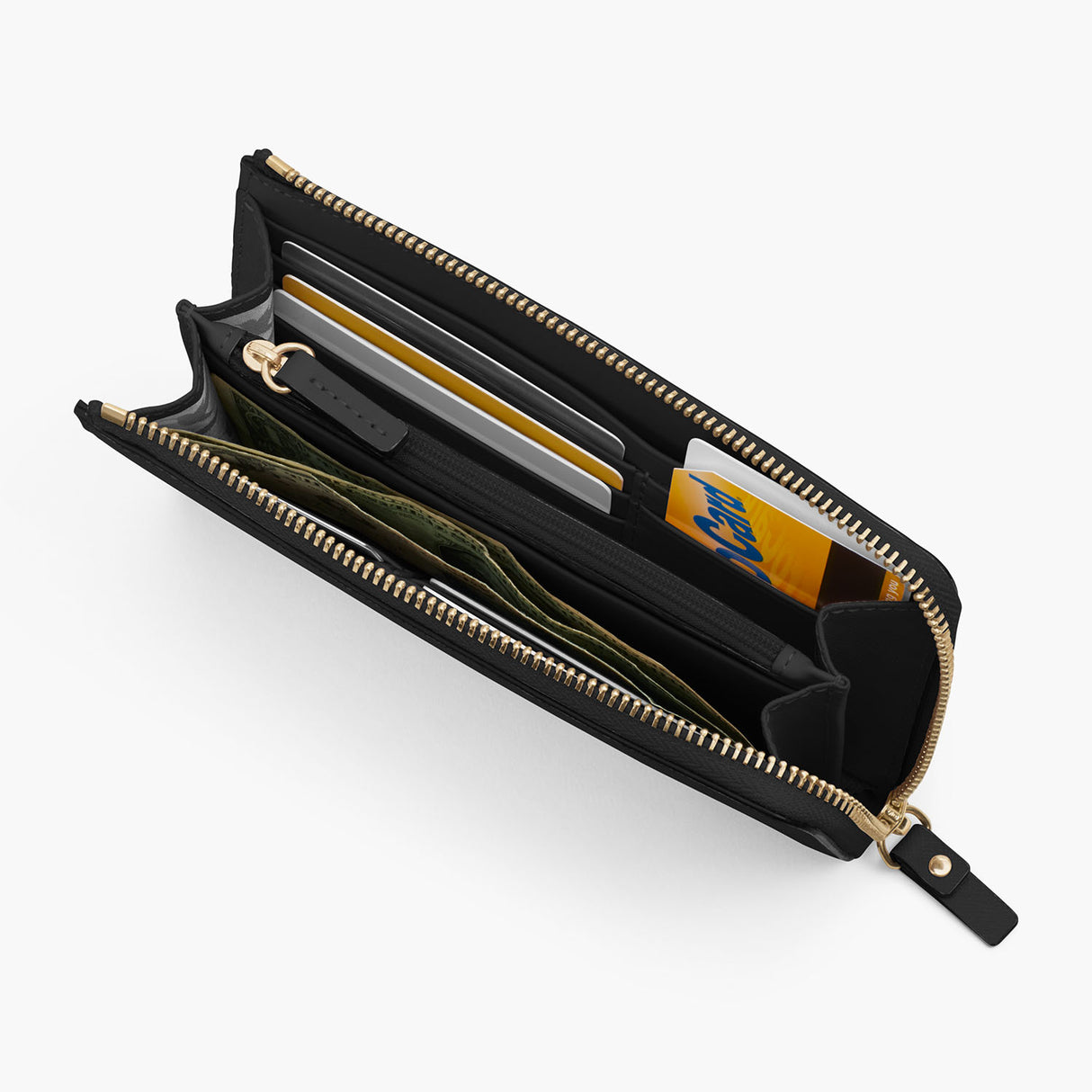 Interior 1 Propped - The Leather Wallet - Saffiano Leather - Black / Gold / Grey - Small Accessory - Lo & Sons