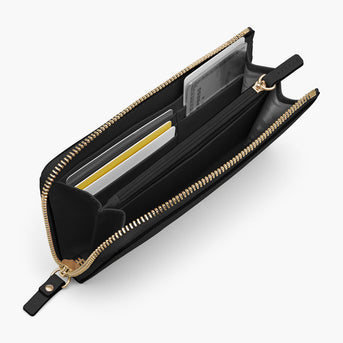 Interior Card Slot - The Leather Wallet - Nappa Leather - Black / Gold / Grey - Small Accessory - Lo & Sons