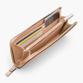 Interior Card Slot - The Leather Wallet - Nappa Leather - Rose Quartz / Gold / Camel - Small Accessory - Lo & Sons