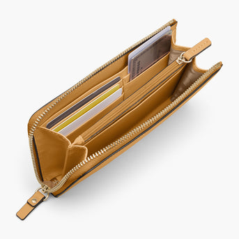 Interior Card Slot - The Leather Wallet - Nappa Leather - Sand / Gold / Camel - Small Accessory - Lo & Sons