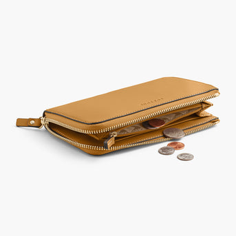 Interior Coin Pocket - The Leather Wallet - Nappa Leather - Sand / Gold / Camel - Small Accessory - Lo & Sons
