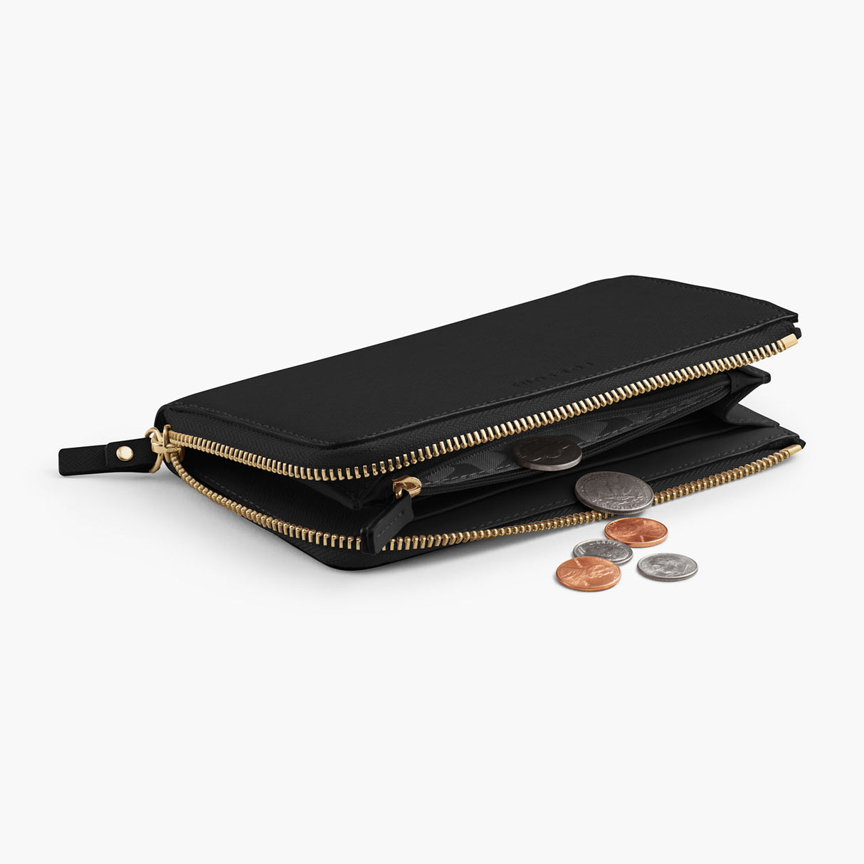 Interior Coin Pocket - The Leather Wallet - Saffiano Leather - Black / Gold / Grey - Small Accessory - Lo & Sons