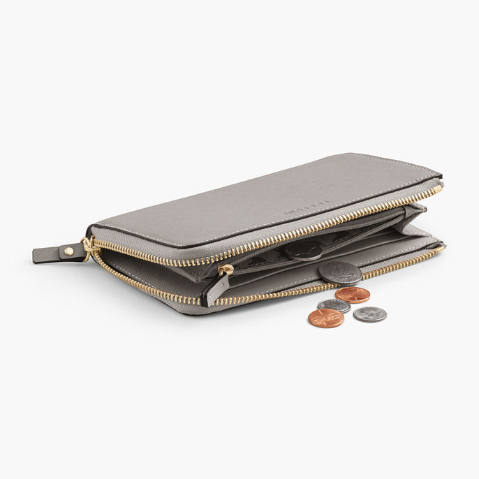 Interior Coin Pocket - The Leather Wallet - Saffiano Leather - Light Grey / Gold / Grey - Small Accessory - Lo & Sons