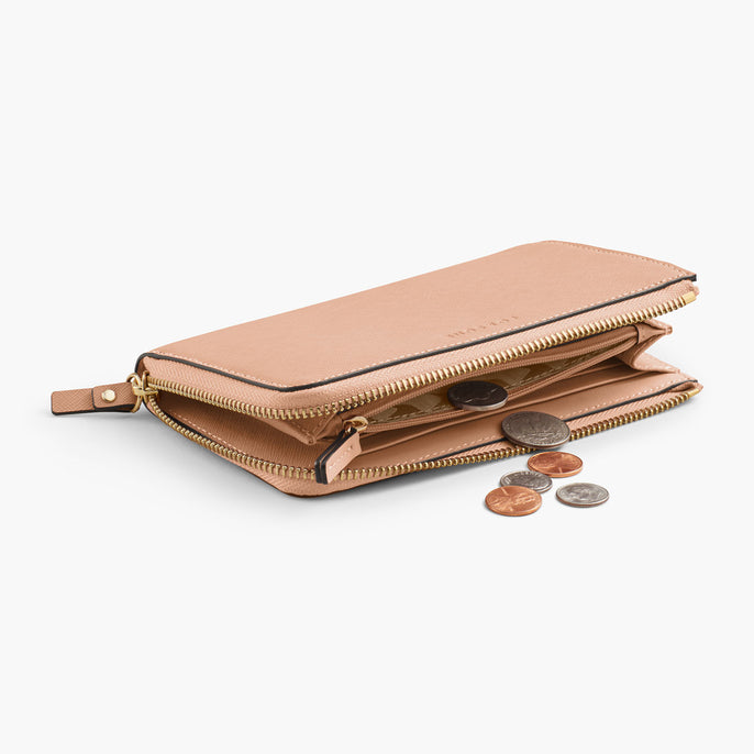 Interior Coin Pocket - The Leather Wallet - Saffiano Leather - Rose Quartz / Gold / Camel - Small Accessory - Lo & Sons