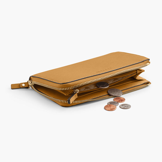 Interior Coin Pocket - The Leather Wallet - Saffiano Leather - Sand / Gold / Camel - Small Accessory - Lo & Sons