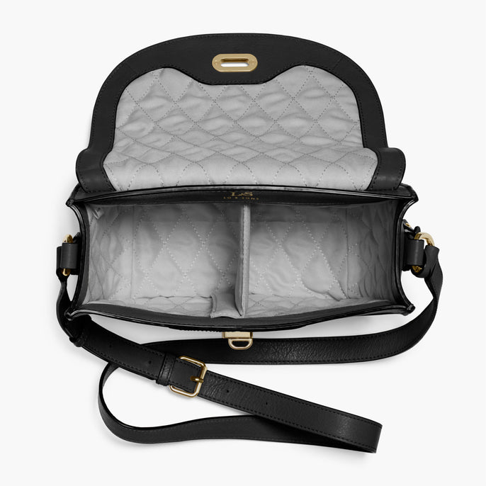 Interior Empty - The Claremont - Full Grain Leather - Black - Crossbody - Lo & Sons