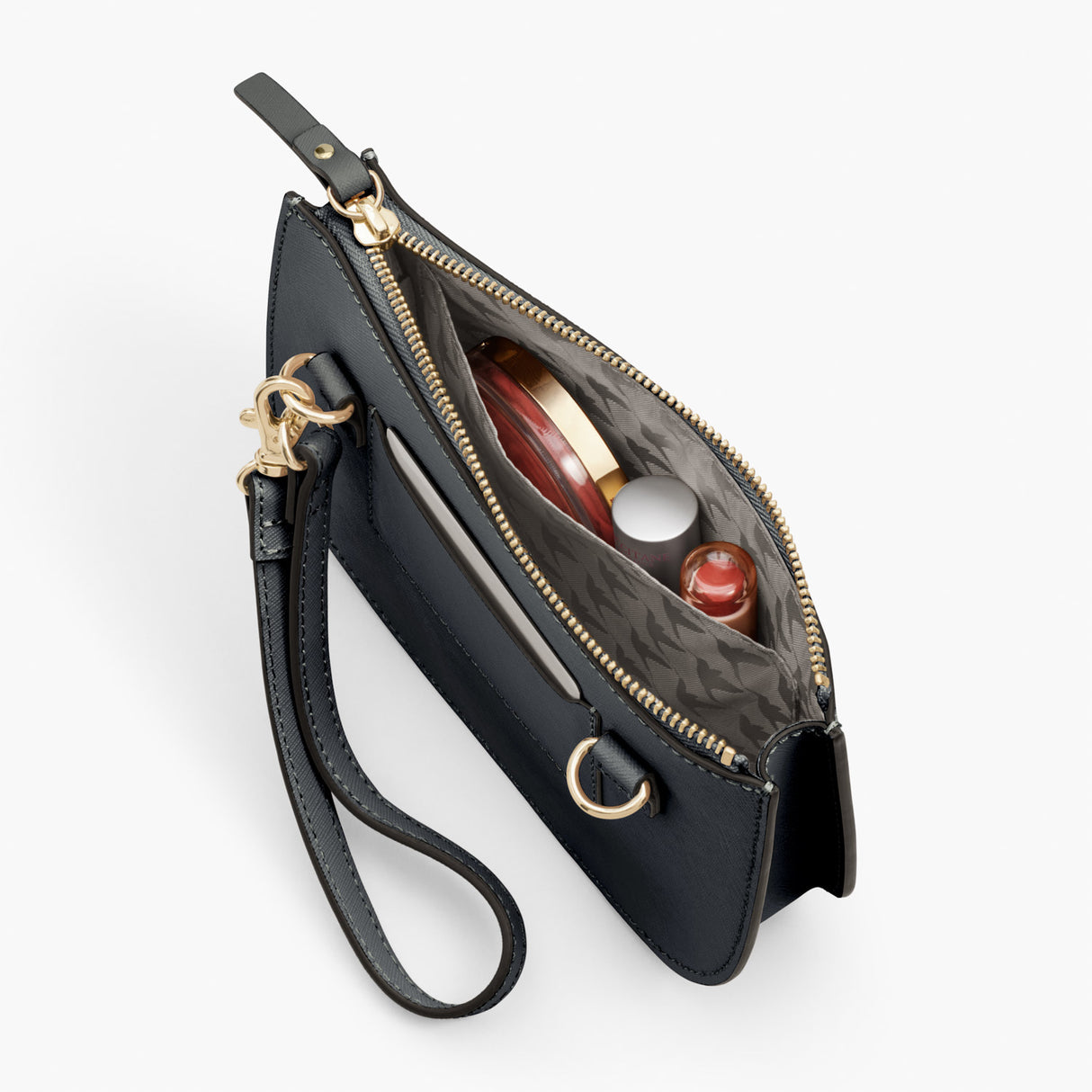Interior Pocket - Waverley 2 - Saffiano Leather - Dark Grey / Gold / Grey - Crossbody Bag - Lo & Sons