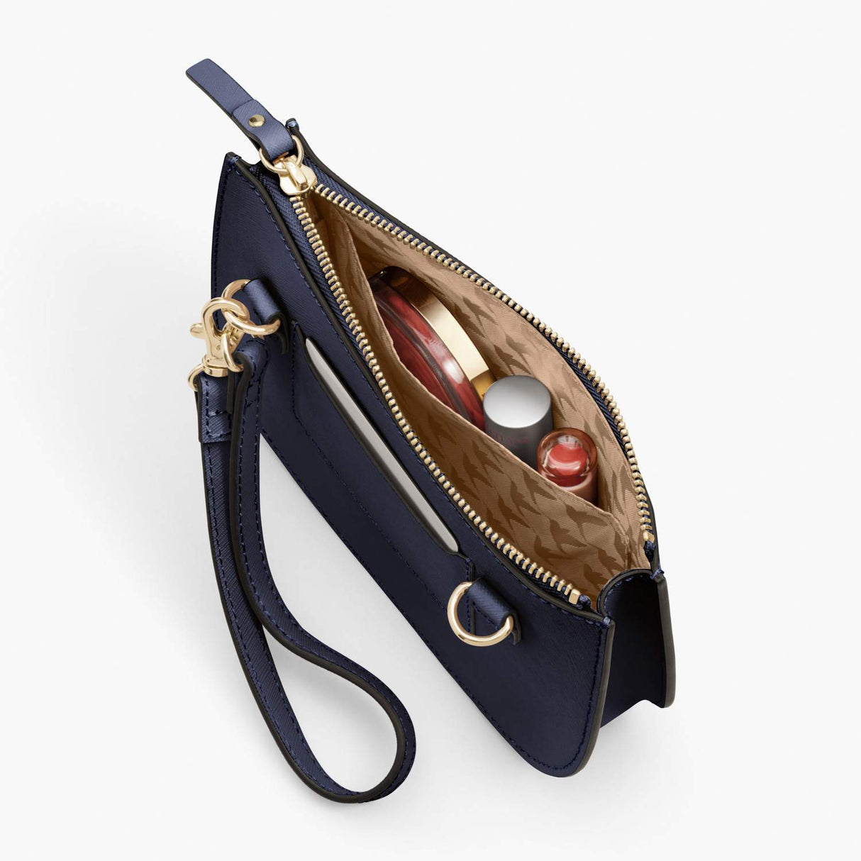 Interior Pocket - Waverley 2 - Saffiano Leather - Deep Navy / Gold / Camel - Crossbody Bag - Lo & Sons