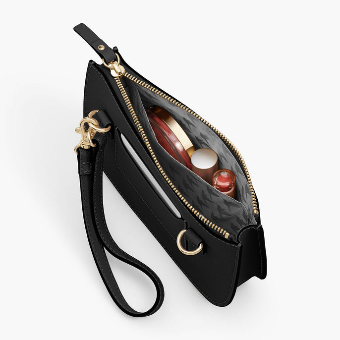 Interior Pocket - The Waverley 2 - Saffiano Leather - Black / Gold / Grey - Crossbody - Lo & Sons