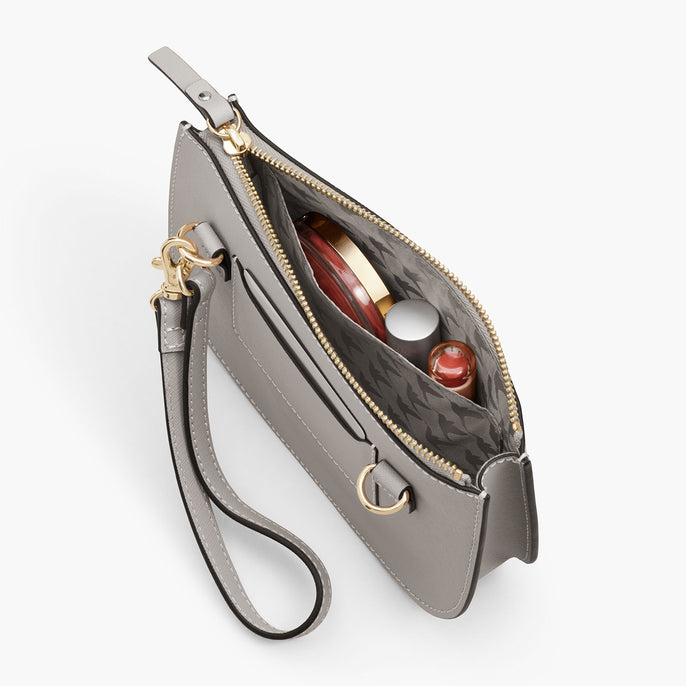 Interior Pocket - The Waverley 2 - Saffiano Leather - Light Grey / Gold / Grey - Crossbody - Lo & Sons