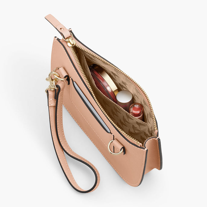 Interior Pocket - The Waverley 2 - Saffiano Leather - Rose Quartz / Gold / Camel - Crossbody - Lo & Sons