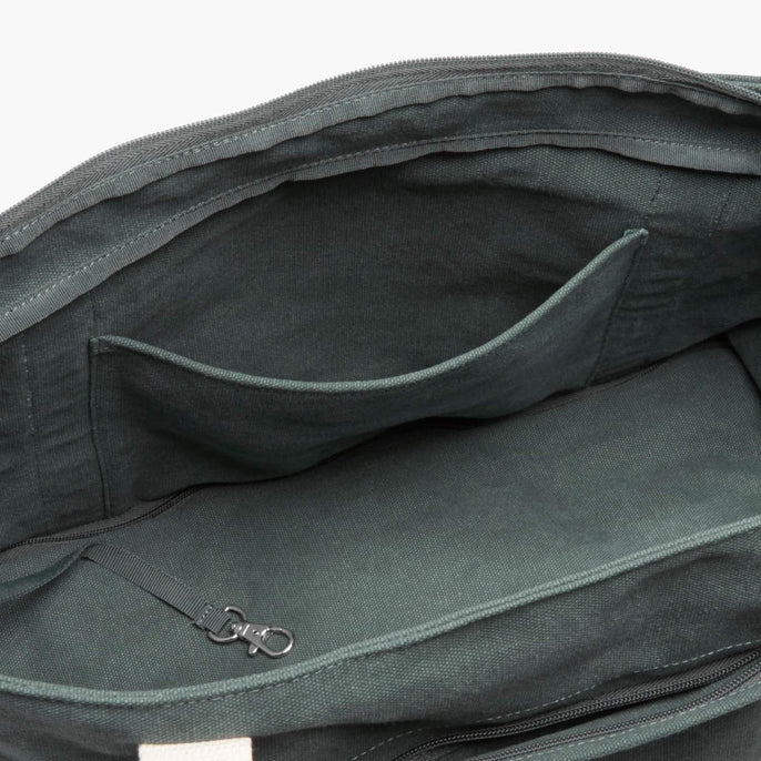 Interior Pocket - The Catalina Deluxe Tote - Washed Canvas - Forest Green - Tote - Lo & Sons