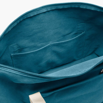 Interior Pockets - The Catalina Deluxe - Washed Canvas - Teal Blue - Weekender - Lo & Sons
