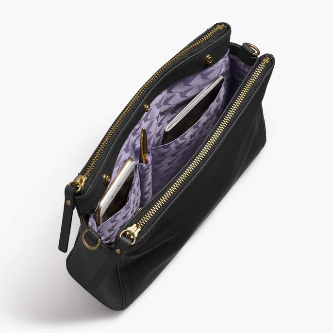 Interior Pockets - The Pearl - Nappa Leather - Black / Gold / Lavender - Crossbody - Lo & Sons