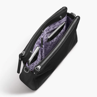 Interior Pockets - The Pearl - Nappa Leather - Black / Silver / Lavender - Crossbody - Lo & Sons