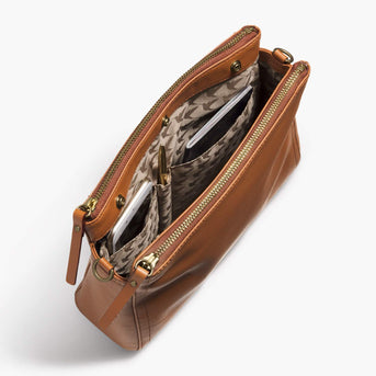 Interior Pockets - The Pearl - Nappa Leather - Sienna / Gold / Camel - Crossbody - Lo & Sons