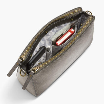 Interior Pockets - The Pearl - Saffiano Leather - Graphite / Brass / Grey - Crossbody - Lo & Sons