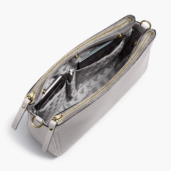 Interior Pockets - The Pearl - Saffiano Leather - Light Grey / Gold / Grey - Crossbody - Lo & Sons