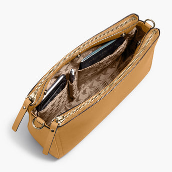 Interior Pockets - The Pearl - Saffiano Leather - Sand / Gold / Camel - Crossbody - Lo & Sons