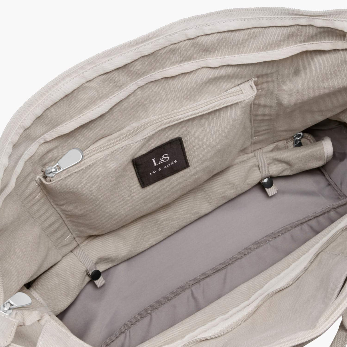 Interior Rolled Base - The Catalina Deluxe Tote - Washed Canvas - Dove Grey - Tote - Lo & Sons