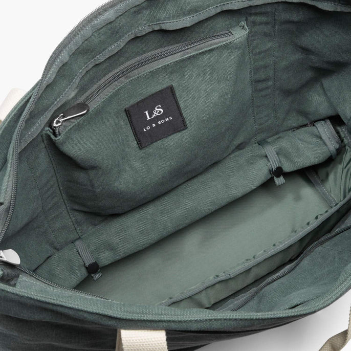 Interior Rolled Base - The Catalina Deluxe Tote - Washed Canvas - Forest Green - Tote - Lo & Sons