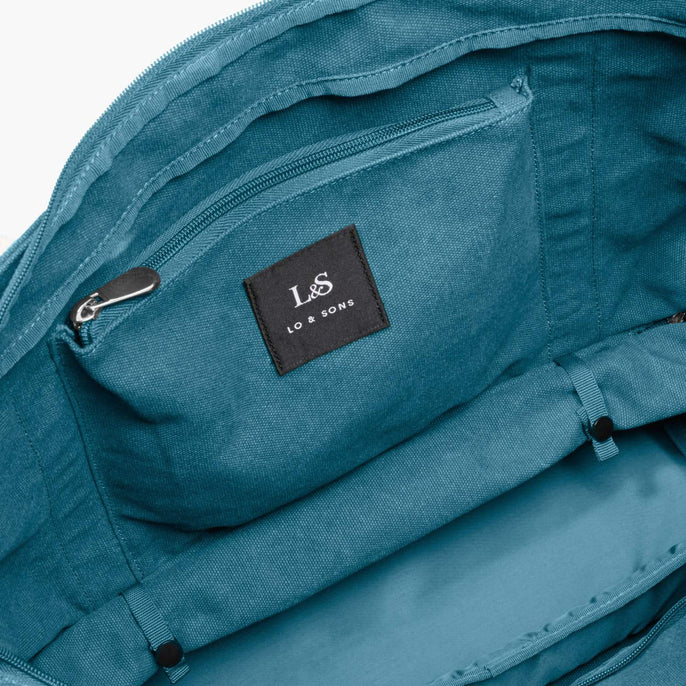Interior Rolled Base - The Catalina Deluxe Tote - Washed Canvas - Teal Blue - Tote - Lo & Sons
