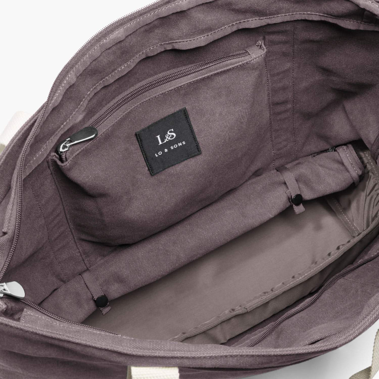 Interior Rolled Base - The Catalina Deluxe Tote - Washed Canvas - Thistle - Tote - Lo & Sons