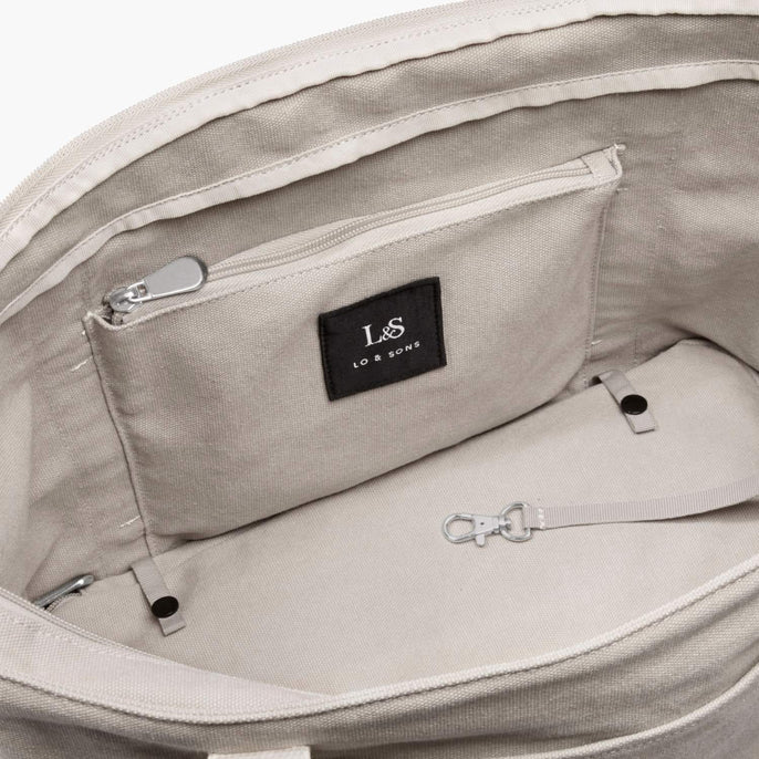 Interior Zip Pocket - The Catalina Deluxe Tote - Washed Canvas - Dove Grey - Tote - Lo & Sons