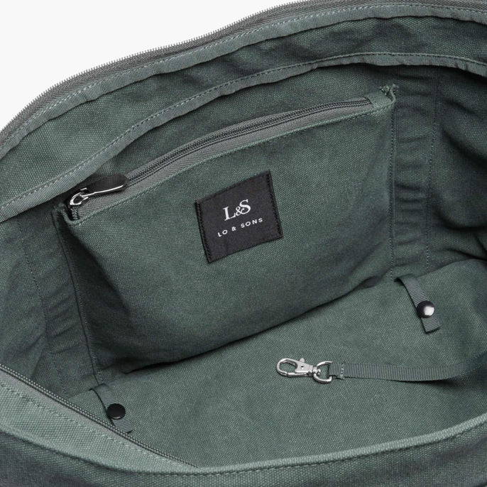 Interior Zip Pocket - The Catalina Deluxe Tote - Washed Canvas - Forest Green - Tote - Lo & Sons