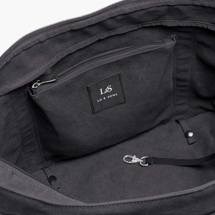 Interior Zip Pocket - The Catalina Deluxe Tote - Washed Canvas - Midnight Ash - Tote - Lo & Sons