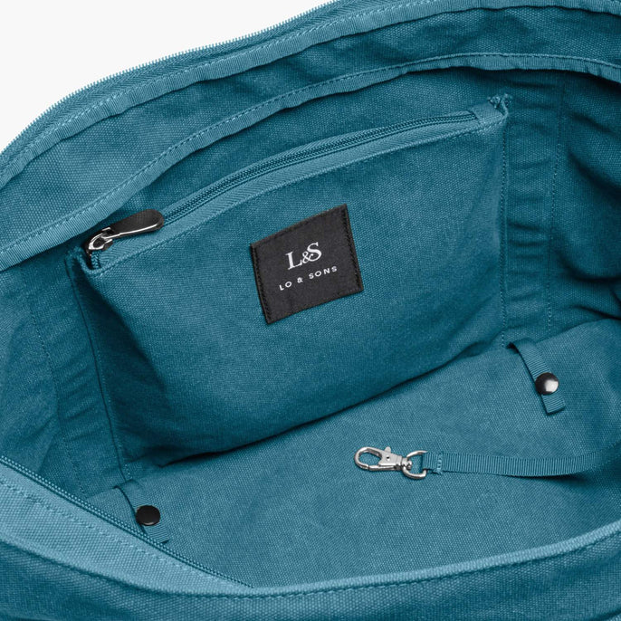 Interior Zip Pocket - The Catalina Deluxe Tote - Washed Canvas - Teal Blue - Tote - Lo & Sons