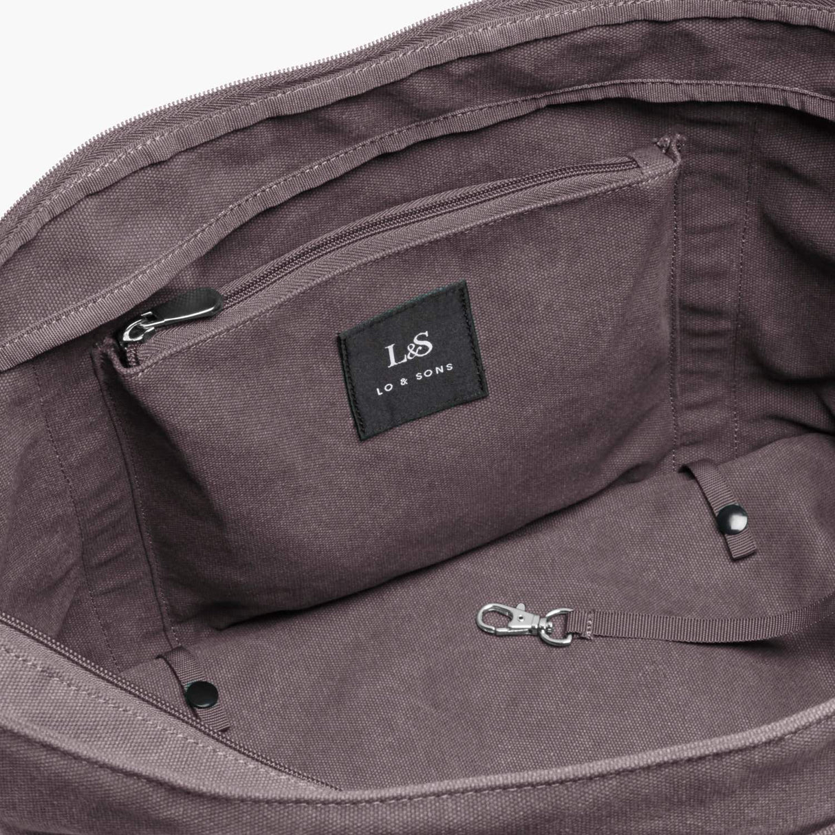 Interior Zip Pocket - The Catalina Deluxe Tote - Washed Canvas - Thistle - Tote - Lo & Sons