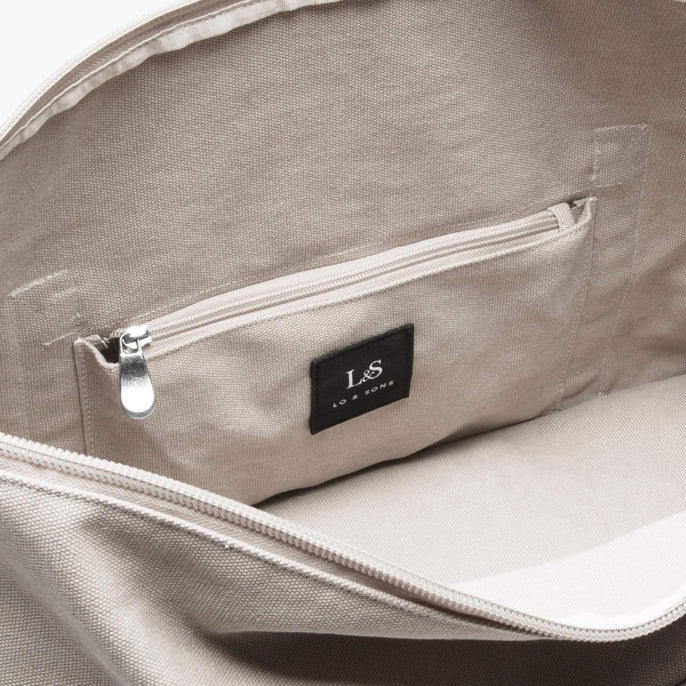 Interior Zip Pocket - The Catalina Deluxe - Washed Canvas - Dove Grey - Weekender - Lo & Sons