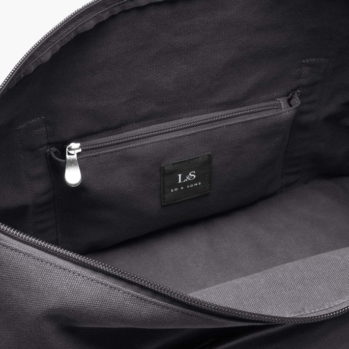 Interior Zip Pocket - The Catalina Deluxe - Washed Canvas - Midnight Ash - Weekender - Lo & Sons