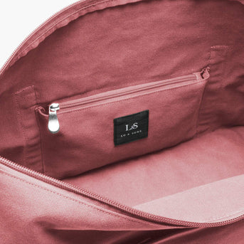 Interior Zip Pocket - The Catalina Deluxe - Washed Canvas - Rose - Weekender - Lo & Sons